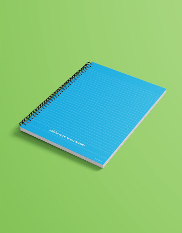 notitieboek_A4_cyaan_gekleurdeachtergrond