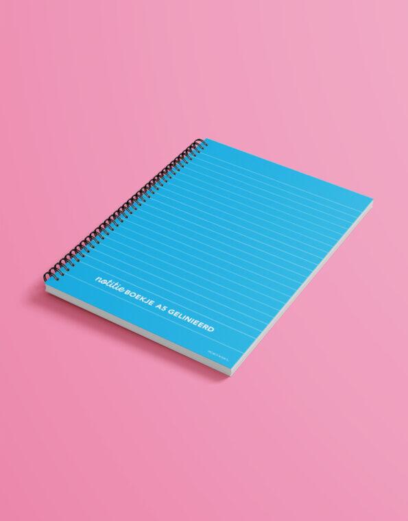 notitieboekje_A5_cyaan_gekleurdeachtergrond